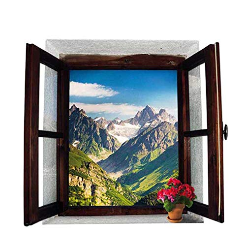 Rgdrh Offenes Fenster Berge Landschaft 3D Wandaufkleber Abnehmbare Tapete Kreative Fenster Ansicht Wandtattoo für Hauptdekorationen50x70 cm