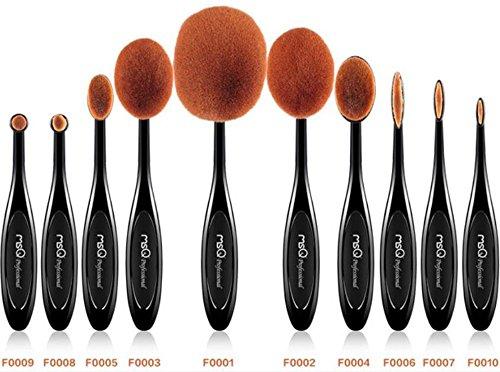 Makeup Pinsel Set MSQ 10pcs Professional Oval Makeup Pinsel Zahnbürste Design Pinsel Mehrzweck Pinsel Kits(Eigenschaften Puder, Concealer, CONTOUR, Foundation, Mischen, Augenbrauen, Eye Liner-Pinsel)