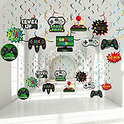 30 Pieces Video Game Hanging Swirl Decorations Supplies, Game Controllers Sign Game on Theme Birthday Foil Ceiling Streamers for Boys Gamer Video Game Birthday Party Supplies Decorations by Sumind