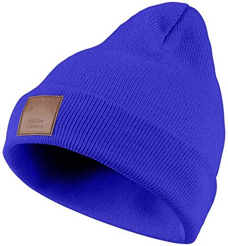 Warme Damen Beanie | Herren Mütze mit Leatherpatch | Strickmütze Watch Hat...