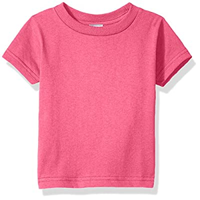 Clementine Baby Infant Soft Cotton Jersey Tees Short Sleeve Crewneck T-Shirt, Hot Pink, 18MOS