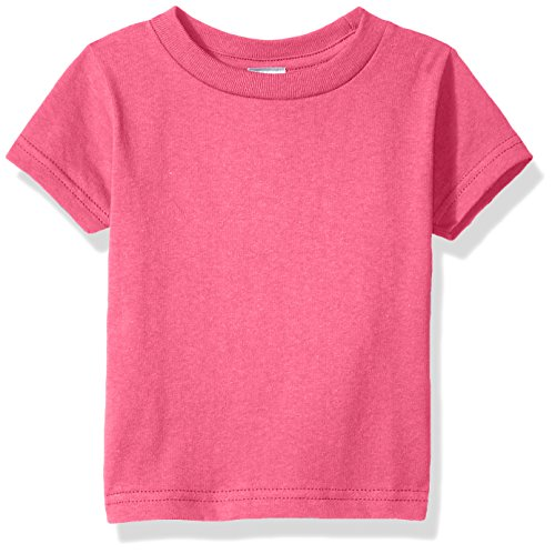 Clementine Baby Infant Soft Cotton Jersey Tees Short Sleeve Crewneck T-Shirt, Hot Pink, 12MOS