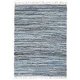 vidaXL Teppich Chindi Handgewebt Wohnzimmerteppich Handwebteppich Fleckerlteppich Fransenteppich Webteppich Läufer Wohnzimmer Denim 120x170cm Blau
