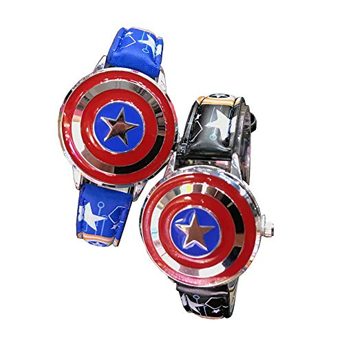 Kinderhorloge, Captain America Flip-Top simulatie quartz horloge, leren riem, Boy Time Teacher Toy Watch,2 pieces