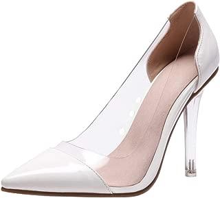 Melady Women Fashion Stiletto Heels Pumps Pointed Toe Clear