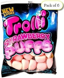 Trolli STRAWBERRY PUFFS, Sugar Coated Marshmallow Gummies, 4.25 oz Bag (Pack of 6)