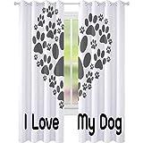 Cortinas opacas para dormitorio, con texto en forma de corazón, con texto «I Love Dog Typescript Veterinario, 2 paneles de 52 x L95, cortinas opacas para habitación de los niños,