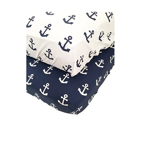 2 Pack Jersey Fitted Cotton Crib Sheet with Anchor Print – Standard Crib Mattress Size – Toddler, Kids Bedding – Navy Blue Nautical Nursery Decor – Ideal for Infant Boys Or Girls
