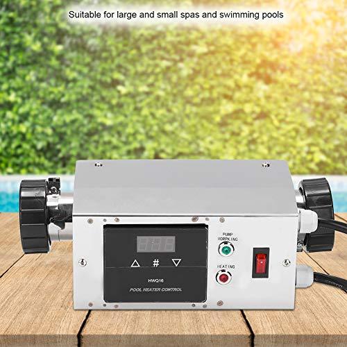 wosume Poolheizungsthermostat, 3KW Edelstahl Wasserdichter intelligenter digitaler Warmwasserbereiter Thermostat für Schwimmbad, Badewasser, Spas, Whirlpools(American)