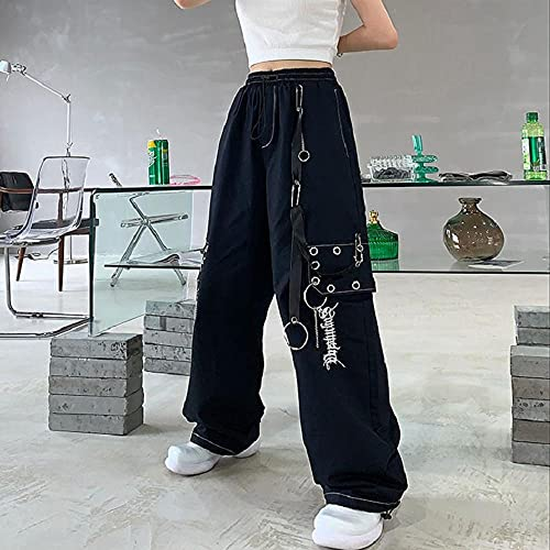 Gothic Harajuku Schwarze Frachtgoten Frauen Kette Wide Bein Goth Hippie Streetwear Weiße Hose Lose Weibliche Baggy Fashion-Schwarz_S.
