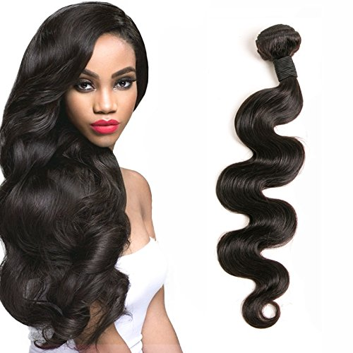 Brazilian Hair 1 Bundle Body Wave Weave Unprocessed Vrigin Human Hair Weft no Tangle and Shedding Total 100g Natural Color 18 Inch