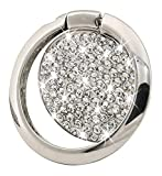 Cell Phone Finger Ring Holder, GREATQIQI Bling Crystals Phone Kickstand, 360° Rotation Metal Ring Grip Stand for Phones and Tablets (Silver)