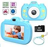 ADSDIA Kids Camera, 3 Inch HD Touch Screen Digital Camera, Child Video Camcorder for 3-12 Year Old Toy Gifts, 1080P IPS and IPX6 Waterproof Rechargeable Electronic Camera with 32GB TF Card (Blue)