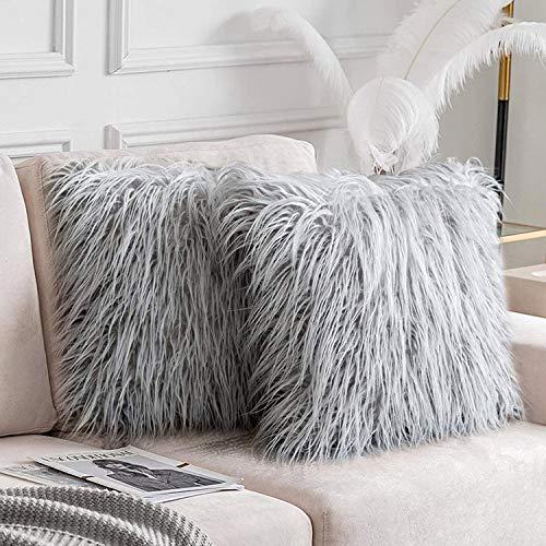 Ewolee 2Pcs Kissenbezug, Dekokissen für Sofa Schlafzimmer (45 x 45 cm, Grau)