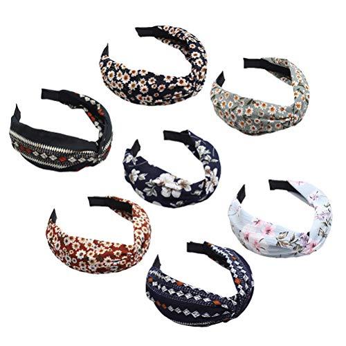 Lurrose breites Haarband Set, 7 Stück Blumenturban Harte Stirnband Boho Haar Reifen für Frauen (verschiedene Stil)