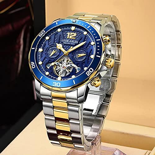 Rcherish Reloj mecánico automático de los Hombres, Reloj automático de Esqueleto clásico para Hombres, a Prueba de Agua, Acero Inoxidable, Reloj, autovancho, diseño de dial Steampunk