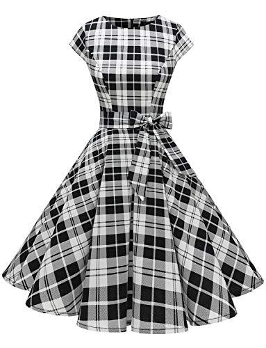 Dressystar Cocktailkleid, für Damen, Vintage, 50er, 60er, Audrey Hepburn, Pin-up, Retro Gr. Large, Black White Grid