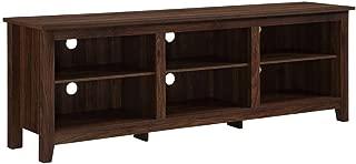 Walker Edison Furniture Company 70 inch Wood Media TV Stand Storage Console in Dark Walnut