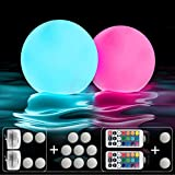IOKUKI Pool Toys 16'' Inflatable Ball Light Up Beach Ball with RC, 13 Colors/4 models/10 Grade Brightness Glow in The Dark Ball Beach Toys for Pool Decorations Party Indoor & Outdoor Games - 2PCS