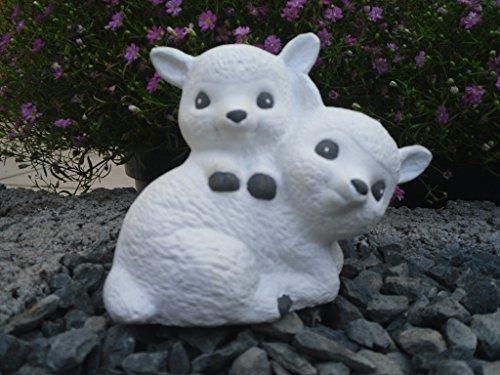 Steinfigur Schaf, 140/5 Schäfchen, Gartenfigur Steinguss Tierfigur Weiß
