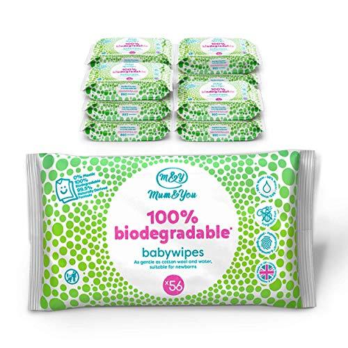 Mum & You Lingettes Humides 100% Biodegradables pour Bebe, paquet de 12, (672 lingettes au total). 98% D'eau, 0% de Plastique, Hypoallergenique et Teste Dermatologiquement.
