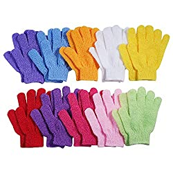10 Pairs Exfoliating Bath Gloves,Made of 100% NYLON,10 Colors Double Sided Exfoliating Gloves for Beauty Spa Massage Skin Shower Scrubber Bathing Accessories.