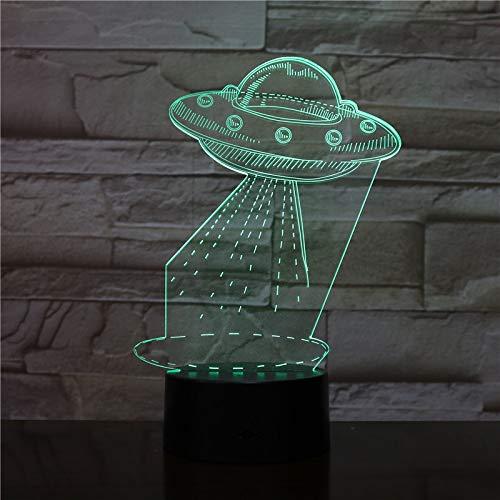 ERBEIOU Spaceship Alien 3D Illusion Lamp for Kids Boys Girls Gift 3D Night Light for Bedroom Beside Table, 16 Colour Changing LED Mood Lamp Desk Table Lamp Children Gift