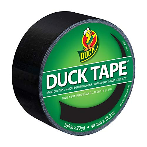 Duck 1265013 Color Duct Tape Single Roll, 1.88 Inches x 20 Yards, Black