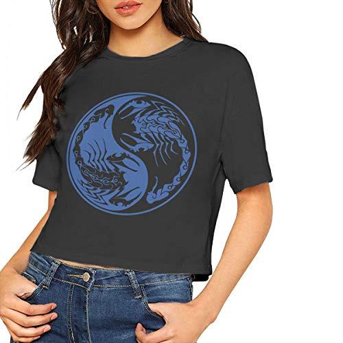 Womens Girls Crop Top, Scorpions Yin Yang-2 Women Summer Short Sleeve Tee Shirts Black