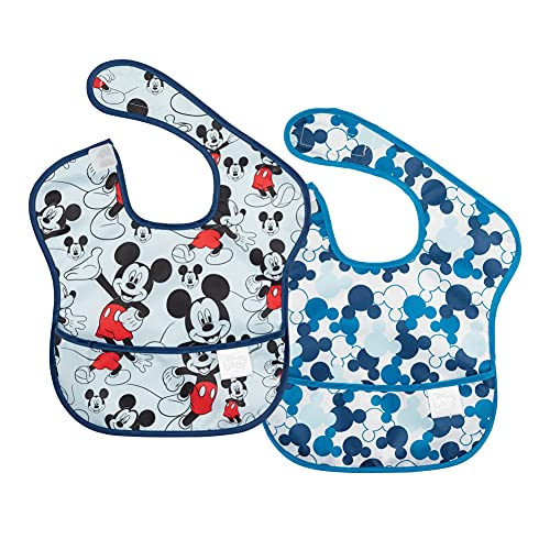 Bumkins Disney Mickey Mouse SuperBib, Baby Bib, Waterproof, Washable, Stain and Odor Resistant, 6-24 Months (Pack of 2) - Classic/Icon
