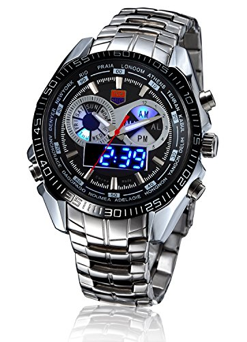 Men's Military Steel Men's Quartz Clock Dual time Digital Blue Binary LED Alarm Waterproof Sport Watch
