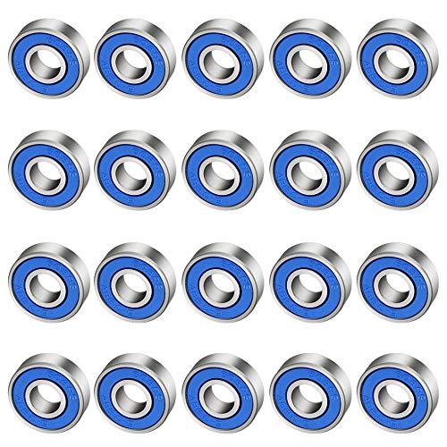 CODIRATO 20 Stück Kugellager 608rs, ABEC-9 Rillenkugellager Kohlenstoffstahl Miniatur Rollenlager mit Double Shielded für Skateboard, Roller, Inline Skates(8mm x 22mm x 7mm)