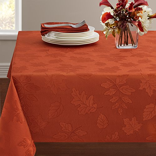 "Benson Mills Harvest Legacy Damask Tablecloth for Fall and Harvest (Rust, 60"" x 104"" Rectangular)"