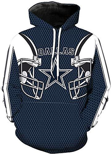 xisnhis Rugby Trikot,Männer Kapuzen Langarm-3D Digital Print Dallas Cowboy Penta Fußball Marineblau PulloverHoodies