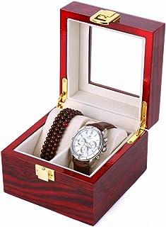 WHSS Watch Box Boîte De Montre en Bois 2 Grille Bijoux Perle Chaîne Boîte De Rangement Couvre-Verre Boutique Vitrine Colle...