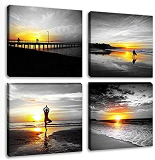 Black and White Canvas Seascape Wall Art Woman do Yoga at Beach Prints Pictures Modern Coastal Sunrise Paintings People Surfing Framed Posters Home Decoration