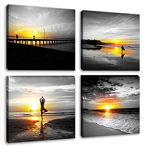 Black and White Canvas Seascape Wall Art Woman do Yoga at Beach Prints Pictures