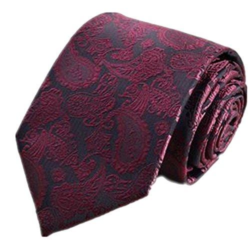 Goodvk Cravatta da Uomo Tie Tie Clip Suit Joker Uomo Vino Rosso anacardi Modello Decorativo Caccia Terra Set di Sei Pezzi Insieme Legame di Gentiluomo