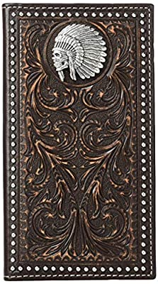 Ariat Unisex-Adult's Scroll Embosed Head Dress Rodeo Wallet, brown