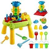 deAO Tavolo da Gioco con Acqua e Sabbia 3 in 1 attività per Bambini all'Aperto Tavolo con Copertura Include Accessori (Castello)