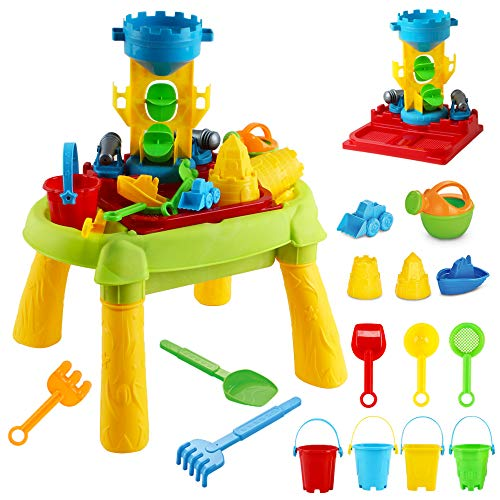 deAO 3-in-1 Sand and Water Outdoor Activity Table Play Set for Children with Water Cannons, Variety of Accessories & Water Mill Included