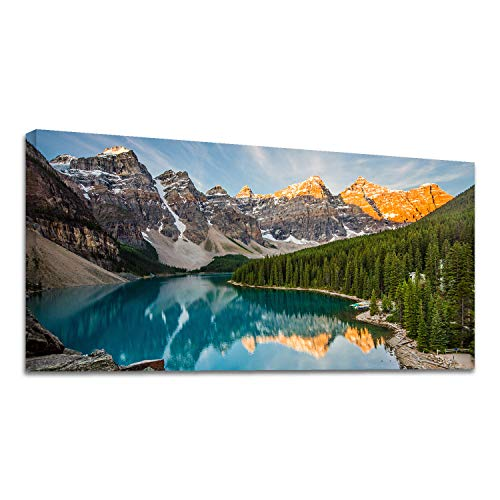 Looife Landscape Canvas Wall Art, 48x24 Inch Mountain, Lake and Forest Under Sunset Picture Prints Wall Decor for Living Room and Bedroom, Scenery Painting Wrapped Canvas Art Deco for Home