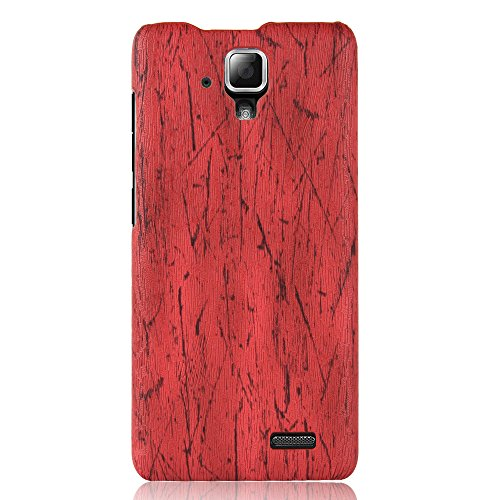 zl one For Lenovo A536 Case,PU Leather Case Back Cover Wood Grain - Red