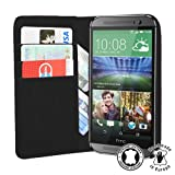 PEDEA cuero verdadero Book Cover para HTC One mini 2, negro - apropiado para One mini 2