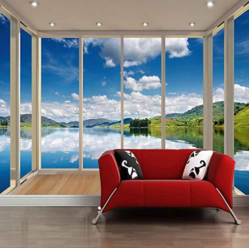 Aangepaste foto Behang Blauwe Hemel Witte Wolken Lake 3D Balkon Raam Landschap Muurschildering Wallpaper voor Woonkamer Grote Muren - 120X100CM