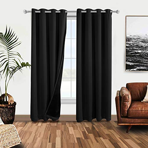 WONTEX 100% Blackout Curtains for Bedroom - Thermal Insulated Window Curtain Panels with Black Liner Backing, Noise Reducing and Sun Blocking Curtains for Living Room, White, 52 x 95 inch, Set of 2
