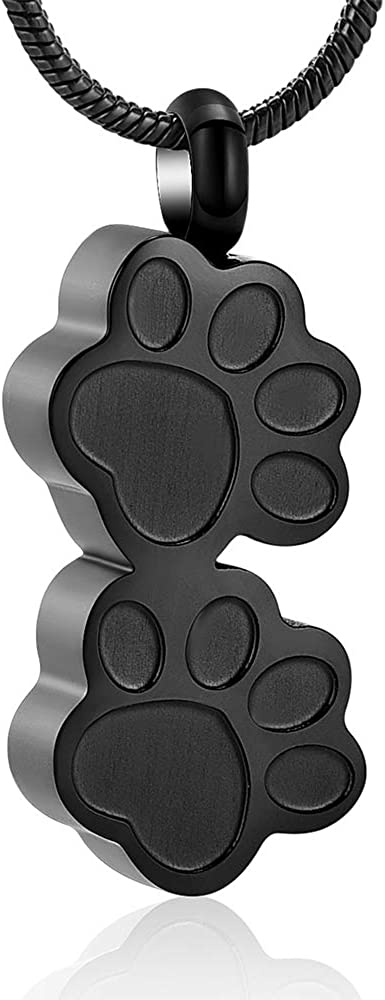 Stainless Steel Double Paw Print Urn Pendant Memorial Ash Keepsake Cremation Jewelry