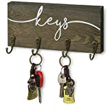 MyGift Keys Design Wall Mounted Rustic Gray Wood Entryway Key Storage Rack with 4 Hanging Hooks
