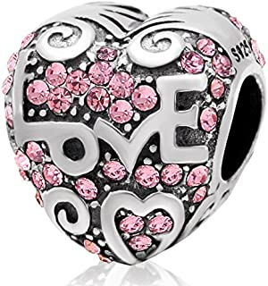 Eternalll Love Heart Charms for Pandora Charms Bracelets,925 Sterling Silver Red Enamel Love Sweet Home Family House European Beads for Women DIY Charms Bracelet