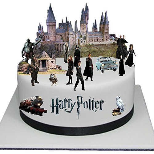 Adorno para torta comestible, diseño escena en relieve de Harry Potter, fácil...
